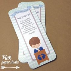 First Communion Favorcards Boys First Communion, First Communion Favors, Baptism Favors, Ideas Para Fiestas, Pink Paper, Cute Cards, Bookmarks, Invitations, Birthday