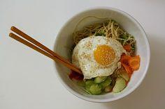 Egg on noodles.
