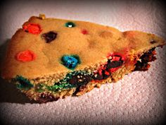 M & M Cookie Pie. This was yummy, yummy, yummy. Just watch your flour measuring. Don't over do it!