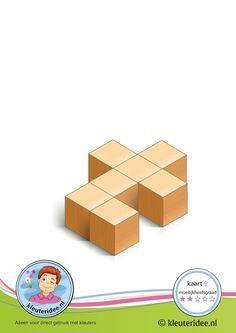 Serie 2 kaart 9, ruimtelijk bouwen met kleuters, kleuteridee, Serie van 50 bouwkaarten in verschillende moeilijkheidsgraad, free printable