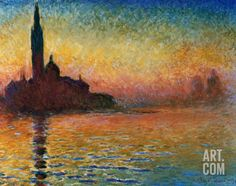 like the abstract view of a sunset and the colors it portrays.  Sunset In Venice Art Print by Claude Monet at Art.com