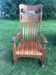 1152 Early Carved Quot Quot Greenman Quot Quot Rocking Chair On Rocking