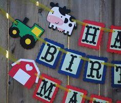 Tractor, Barnyard Birthday Banner, Farm Party, Farm Theme, Barnyard Theme Party Decor by Cutiepiepartyshoptoo on Etsy