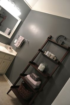 36 Ideas bath room shelf display wall colors for 2019 Bathroom Standing Shelf, Bathroom Niche, Bathroom Ideas, Bathroom Storage, Bathroom Ladder Shelf, Basement Bathroom, Simple Bathroom, Master Bathroom, First Apartment