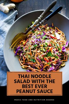 Protein Packed Thai Pasta Salad is a healthy 20 mins dinner recipe. It packs in over 18 g of protein and is still filled with veggies! This really is one of the recipes that I can't just wait to dig into! Thai Pasta, Thai Noodle Salad, Thai Chicken Salad, Rice Noodle Salads, Asian Noodle Salads, Crunchy Noodle Salad, Sesame Noodle Salad, Asian Salads, Rice Noodle Recipes