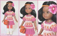 5 Teiler, für Steh-Puppe Nora (32 cm, Paola Reina) oder ähnliche Puppen in der Größe 30-34 cm. Das Set besteht aus folgenden Elementen: - Strickkleid/Strickjacke, zum Knöpfen -...