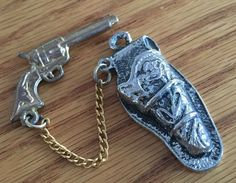Vintage Silver and Gold Tone Gun and Holster Pendant Charm 2 Piece Removable | eBay