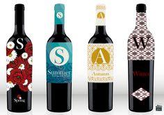 Familia de 4. Diseño de etiquetas de vino. Diseño Triloby estudio