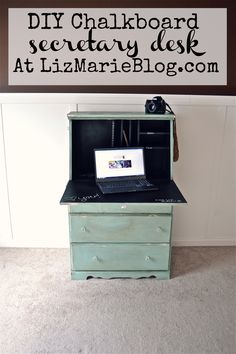 DIY Chalkboard Secretary Desk. Awesome re-do with before and after photos. Also includes paint colors used.
