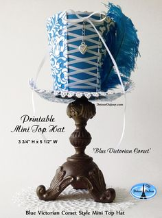 aaartz Blue Mini Top Hat Alice in Wonderland Party by DetourDuJour