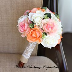 Coral Bouquet Peach Bridal Rustic Wedding Burlap Lace White Real Touch Silk Flowers