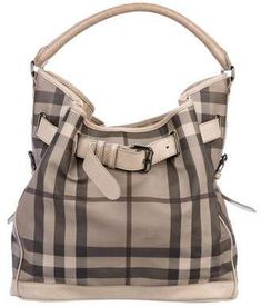 Burberry Smoke Check Coated Canvas Hobo Check Coat, Vintage Bag, Dust Bag, Burberry, Shoulder Strap, Smoke, Beige, Handbags, Canvas