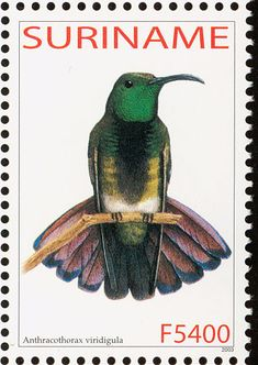 Green-throated Mango stamps - mainly images - gallery format