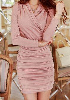 Pink Ruched Dress- Long Sleeve Pink Ruched Dress