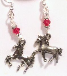 Year of the Horse Earrings with crystals