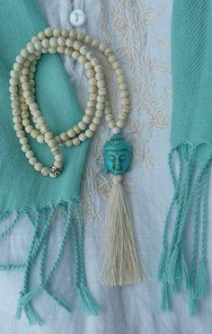 Turquoise yoga necklace beachcomber beaded buddha tassel necklace - white howlite turquoise buddha long necklace - yoga by the sea Tassel Jewelry, Yoga Jewelry, Beaded Jewelry, Jewelery, Handmade Jewelry, Beaded Bracelets, Jewelry Necklaces, Diy Necklace, Tassel Necklace