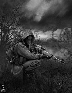Art by Alexander Rudenko Sniper. Apocalypse Tattoo, Apocalypse Art, Cyberpunk, Fallout Posters, Post Apocalyptic Art, Apocalyptic Clothing, Ronin Samurai, Character Art, Character Design