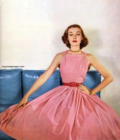 Liz Pringle in dress by Claire McCardell 1952