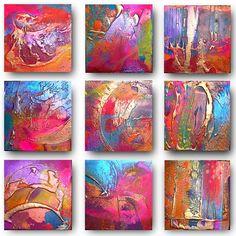 9 x Original Set of Art von Caroline Ashwood - texturierte und zeitgenössische abstrakte Malerei auf Leinwand - FREE SHIPPING