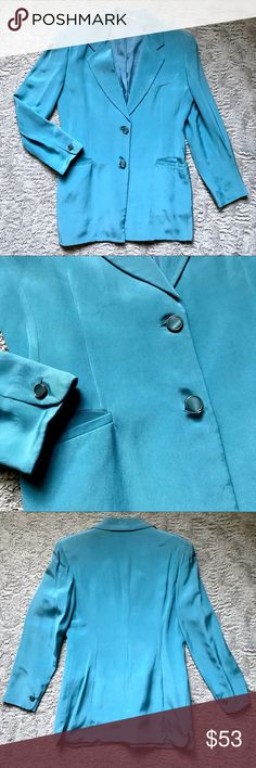 """Vintage Turquoise Blue 100% Silk Italy Suit Blazer Vintage Women's Turquoise Blue 100% Silk Italy Blazer Suit Jacket Sz Medium Large  Brand:Unbranded Size:46 (roughly fits like an 8/10- see measurements below) Condition: pre-loved Material: 100% silk · Blazer/suit jacket · Made in Italy · Lined · Padded shoulders · Pockets in front · 2 button closure · Soft Measurements laying down: Chest: 20.5"""" Center length (shoulder to hem): 30""""…"""