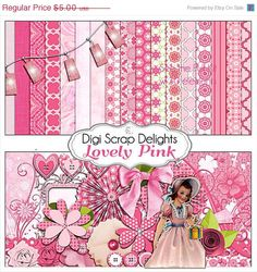 40 Off SALE Lovely Pink Digital Scrapbook Kit by DigiScrapDelights
