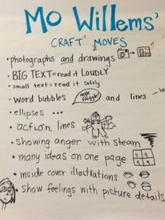Mo Willems Author Craft Study Anchor Chart I love how they listed the traits that are unique to the author. I will have to add this into my second grade author studies!