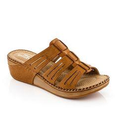Look at this #zulilyfind! Tan Cutout Strap Sandal by Lady Godiva #zulilyfinds