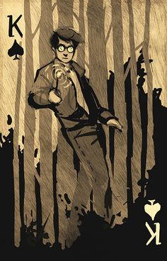 Harry-Potter-Playing-Cards-King-of-Spades-by-Katherine These are three playing cards designed by the American artist, Katherine Bishop, as an assignment for her Spring 2013 Concepts II class. The task was to design three court cards and its back design… Cool Playing Cards, Cool Cards, Printable Playing Cards, Vintage Tarot Cards, King Of Spades, Play Your Cards Right, Harry Potter Fan Art, Deck Of Cards, Card Deck
