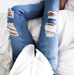 button down + ripped jeans