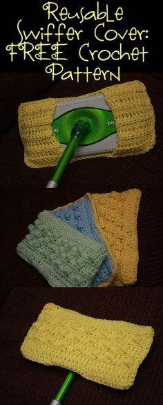 Reusable Swiffer Cover FREE Crochet Pattern   candleinthenight.com I think she used cotton yarn. All she says is worsted weight. GRR
