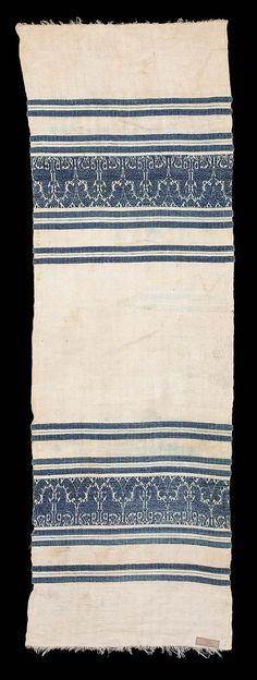 White linen; design woven in bluecotton.
