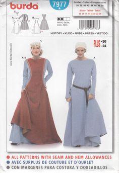 Burda 7977 Medieval Dress Under Dress by SarahBethsCottage on Etsy, $8.00