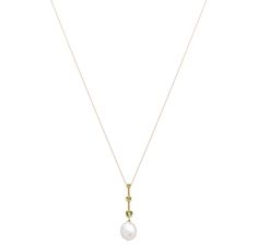 """14K Gold South Sea Shape Freshwater Pearl Necklace, $460,3mm,4mm,5mmperidot and15x12mm southsea freshwater pearl, 18"""" chain"""