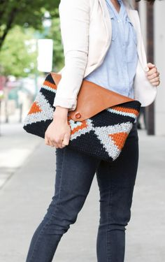 geometric #crochet clutch with a leather flap via @molliemakes