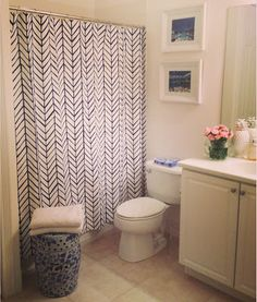 Luxe Report: Luxe Lifestyle: Favorite New Purchase: Herringbone Shower Curtain $78.00