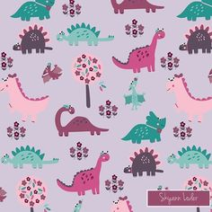 1000 images about floral dinosaur sfweeklydesign on for Girly dinosaur fabric