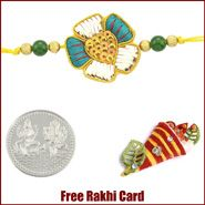 Five Petal Zardosi Rakhi to Canada  with Free Silver Coin