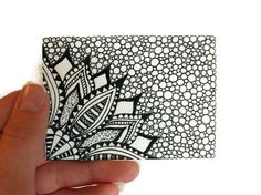 ACEO Original Ink Drawing Flower, Black and White Zendoodle ArtFromJoArtyJo on Etsy