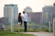 Photo by Brian Slawson Photography. Proposal shoot. Milwaukee skyline. #newbling #proposal #shesaidyes