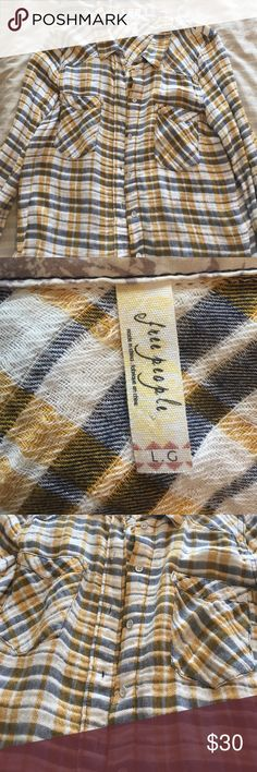 Free People Oversized Flannel Yellow Free People oversized flannel. Like new Free People Tops Button Down Shirts