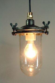 OLD INDUSTRIAL HANGING/PENDANT LAMP VINTAGE LIGHT  Possible hall light? £120