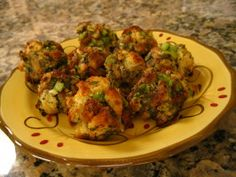 Stuffing balls- used fresh sage (about 4 large leaves), 2 dashes of seasoning salt, and white wine