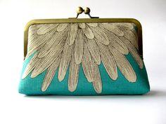 Mighty FINE, Chrysanthemum  silk lined aqua floral clutch, Bag Noir, Bridesmaid clutch, Weddings bride formal clutch purse