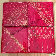Rosy red with rich gold, Hand-painted henna-style coasters, with acrylics  resin,  (c) Bala Thiagarajan, 2014