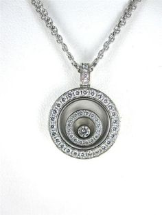 CHOPARD HAPPY SPIRIT 18KT WHITE GOLD NECKLACE 45 DIAMOND 8.4DWT FLOATING PENDANT