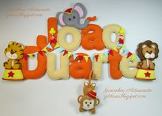 Circus animals themed name banner