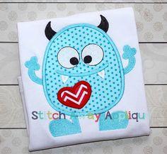 'Love Monster' Machine Embroidery Applique Design ........................................................................................................ by StitchAwayApplique | Etsy