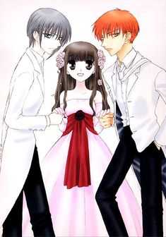 Yuki, kyo and tohru... Yuki is the left Tohru in the middle and Kyo on the right... <3<3<3<3<3