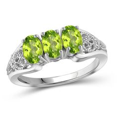 Jewelonfire 1.44 CT Peridot Ring in SS 12461 (270 DKK) ❤ liked on Polyvore featuring jewelry, rings, green, jewelry & watches, glitter ring, peridot jewellery, cocktail rings, green jewellery and peridot rings