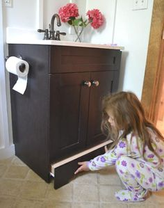 #diy smart idea for kids!! a vanity step drawer stool! Love this...the stool is always out in the middle of my bathroom and makes me crazy.